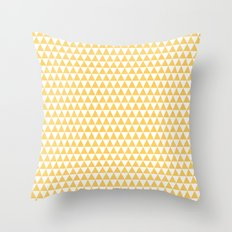 triangles - yellow and white Throw Pillow