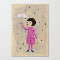 Girl In Rain Canvas Print