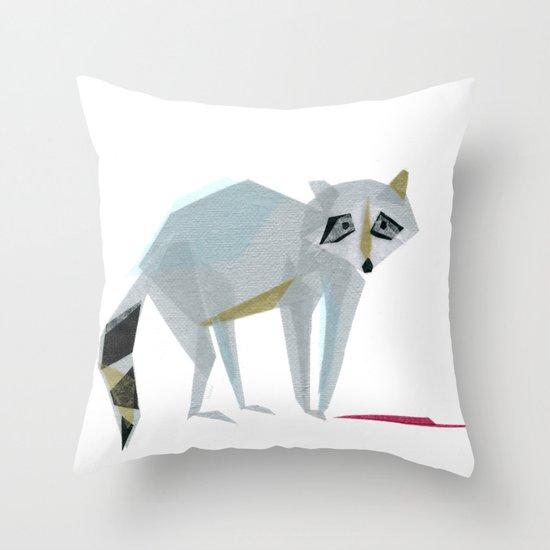 Wally Raccoon Throw Pillow