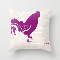 Farm Poster #2 - Rooster & Worm Throw Pillow
