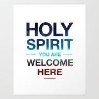 Holy Spirit: Blue Cyan Red Art Print