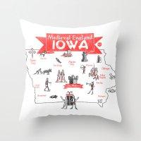 Medieval England IOWA Throw Pillow