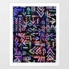 Tapa Tribal Black Art Print
