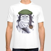 Wise Mr. Chimp Mens Fitted Tee White SMALL