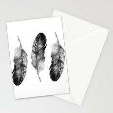 Three Feathers Black And White Stationery Cards