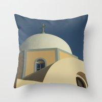 Santorini Chapel Throw Pillow