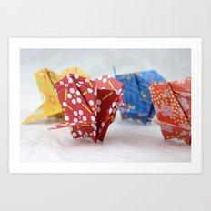Origami Crane Basket Art Print