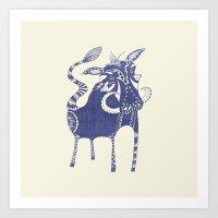 Blue Boar Art Print
