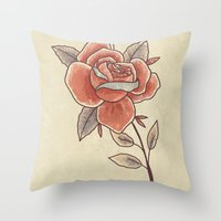 Rose on a Stem Throw Pillow