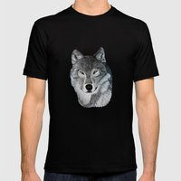 Wolf Portrait Mens Fitted Tee Black SMALL