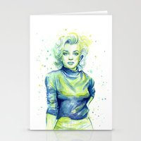 Marilyn Portrait Watercolor Painting Stationery Cards