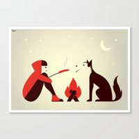 Little Red and Big Bad Canvas Print
