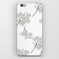 Japanese Trees ( Japan, Asia, Black-White, Delicate, Elegant print ) iPhone & iPod Skin