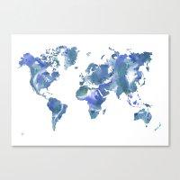 Watercolour World Map (blue/green/white) Canvas Print