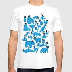 Blue Animals Black Hats Mens Fitted Tee SMALL White