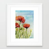Red Poppies Watercolor  Framed Art Print