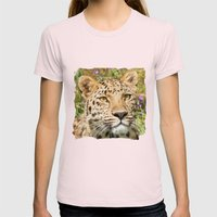 LEOPARD LOVE Womens Fitted Tee Light Pink SMALL