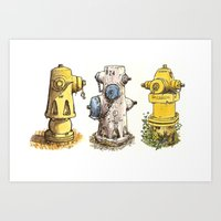 Pete's Fire Hydrants Art Print