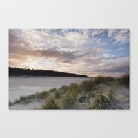 Sunset and beach huts. Wells-next-the-sea, Norfolk, UK. Canvas Print