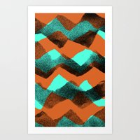 Paper collage and digital zig zags. Art Print