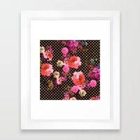 Elegant Pink Vintage Flowers Black Gold Polka Dots Framed Art Print