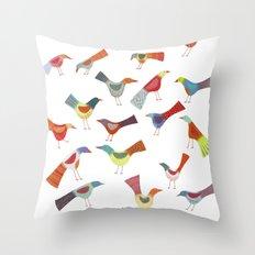 Birds doing bird things Throw Pillow