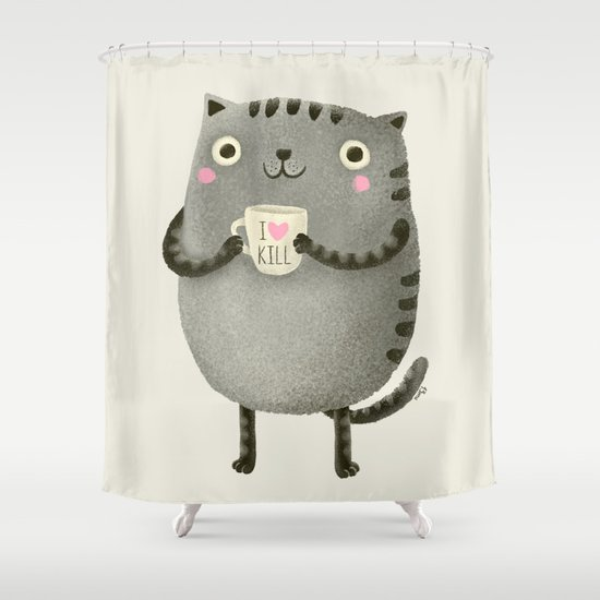 I♥kill (brown) Shower Curtain