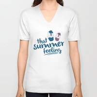 Ice cream pattern - light blue Unisex V-Neck