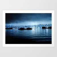Seattle Fog- Night Art Print