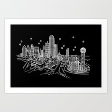 Dallas, Texas City Skyline Art Print