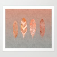 feathers Art Prints featuring Feathers by LebensART