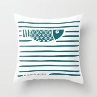 PIXE 1 (dark blue) Throw Pillow