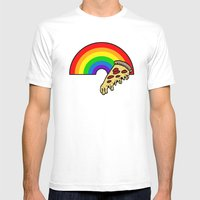 Pizza Rainbow Mens Fitted Tee White SMALL