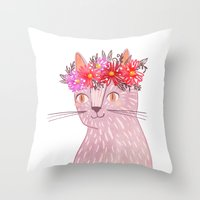 Cat with Floral Crown Throw Pillow