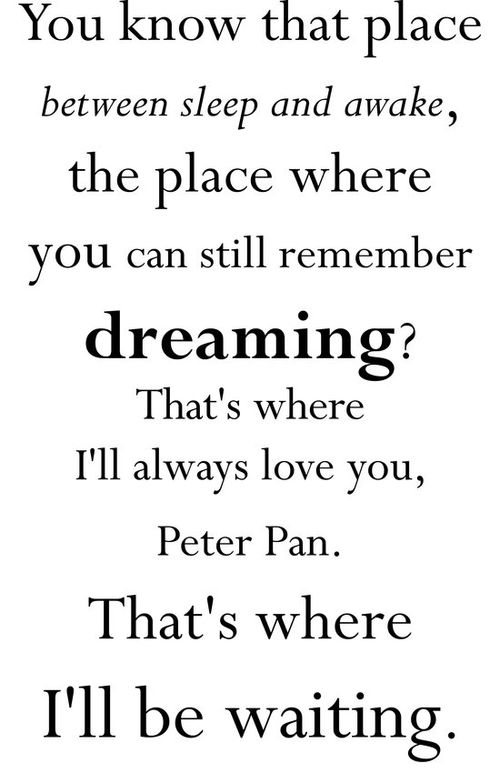 Peter Pan Wendy Tinkerbell Quote J. M. Barrie Art Print
