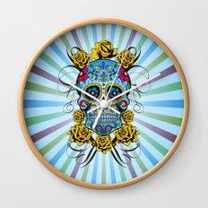 Sugar skull- Day of the dead- blue Wall Clock