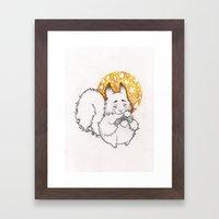 Joyful Autumn Squirrel Framed Art Print