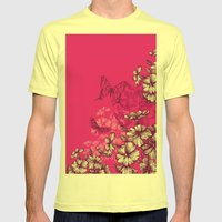 Vintage butterfly wallpaper- magenta Mens Fitted Tee Lemon SMALL
