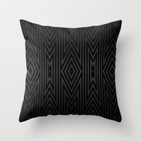 Charcoal Gray On Black T… Throw Pillow