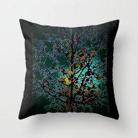 Autumn Tree on Turquoise Background Throw Pillow