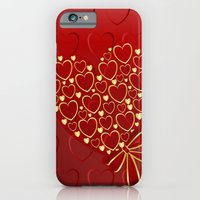 Gold Hearts On Rich Red iPhone 6 Slim Case