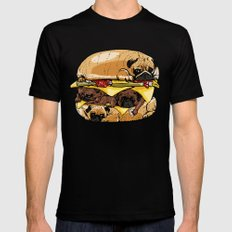Pugs Burger Mens Fitted Tee Black SMALL