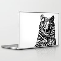 bear Laptop & iPad Skins featuring Ornate Grizzly Bear by BIOWORKZ
