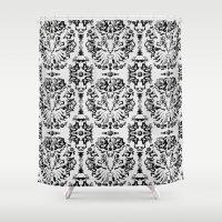Cat Damask (Black&White) Shower Curtain