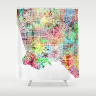 Los Angeles Map Californ… Shower Curtain
