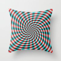 Turquoise And Red Spiral… Throw Pillow