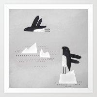 is that penguin flying? Art Print