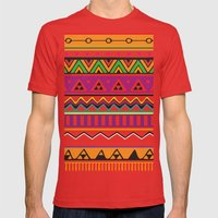 Colouful Aztec Mens Fitted Tee Red SMALL