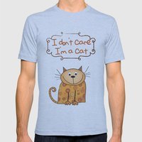 I don't care, I'm a Cat Mens Fitted Tee Athletic Blue SMALL