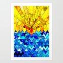 Sun & Sea Collage Art Print